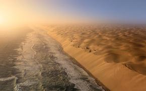 Picture sea, the sky, desert