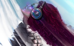Picture girl, music, headphones, art, profile, red hair