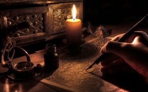 Picture style, table, candle, antique