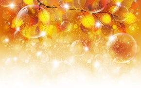 Picture autumn, leaves, bubbles, sprig, bubbles, autumn, leaves, twigs, glosses, glitter