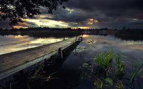 Picture sunset, bridge, lake, twilight