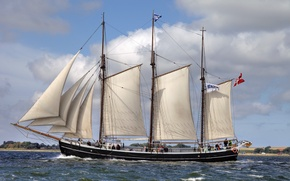 Picture sailboat, sails, schooner, Fulton