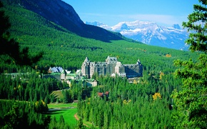 Picture forest, trees, mountains, Canada, panorama, the hotel, Banff, Springs Hotel