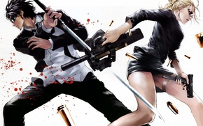 Picture weapons, blood, woman, katana, anime, male