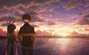 Picture the sky, water, clouds, dawn, two, studio s.d.t., yuuki tatsuya
