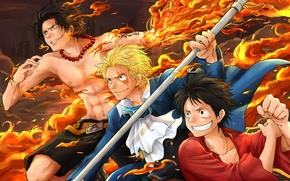 Picture anime, art, one piece, Portgas D. Ace, Ace, Luffy, Monkey D. Luffy