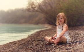 Picture shore, girl, the beauty, Beach, Lorna Oxenham