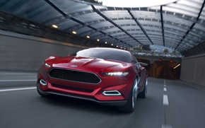 Picture road, speed, tunnel, ford mustang