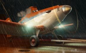 Picture rain, cartoon, wings, adventure, Cars, rally, wings, runway, Cars, Walt Disney, animation, action, Walt Disney, …