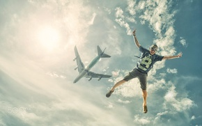 Picture the sky, flight, the plane, jump, parachute, Creek, skydiving