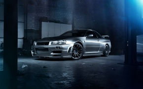 Picture GTR, Nissan, Car, Skyline, Godzilla, R34, Ligth, Of Tune, Vspec