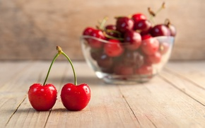 Picture berries, plate, fruit, cherry
