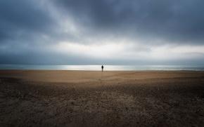 Picture sea, beach, clouds, storm, horizon, storm, beach, one, sea, clouds, alone, horizon