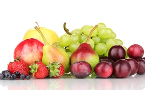 Picture apples, blueberries, strawberry, grapes, fruit, plum, pear