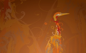 Wallpaper Heron, background, curls, line, crane, figure, bird, Ubuntu