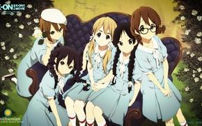 Picture blue, nature, sofa, blue, roses, glasses, Schoolgirls, friends, K-on, Mio Akiyama, Azusa Nakano, Tsumugi Kotobuki, …