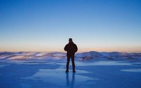 Picture ice, winter, lake, man, frozen, sunlight, freeze, frost