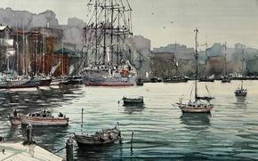 Picture sea, landscape, boat, ship, picture, Bay, port, watercolor, Maximilian DAmico