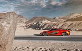 Picture McLaren, Orange, Sky, Side, Death, Sand, Supercar, Valley, Hypercar, Exotic, Volcano