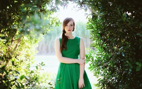 Picture portrait, dress, green