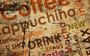 Picture labels, coffee, chocolate, coffee, milk, cappuchino, americano