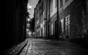 Picture road, night, the city, street, Windows, building, home, pavers, door, lights, black and white, Sweden, ...