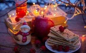 Picture lights, berries, tea, books, Apple, yellow, cookies, red, figurine, garland