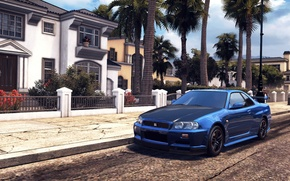 Picture city, GTR, Nissan, game, Los Angeles, Skyline, R34, beta, 2014, The CREW