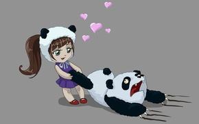 Picture love, bear, art, Panda, girl, hearts, horror, poor Panda