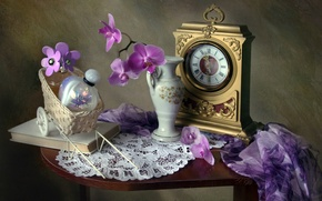 Picture flowers, watch, texture, perfume, book, bottle, vase, still life, shawl, Orchid, vintage, napkin