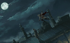 Picture roof, art, assassin's creed, assassin, silent killing
