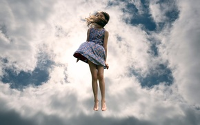 Picture the sky, clouds, jump, girl