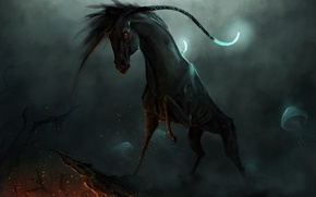 Picture rocks, horse, being, fantasy, art, jellyfish, sparks, red eyes, Clara Morin