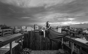 Picture girl, the city, dress, panorama, Asian, sitting