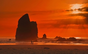 Wallpaper pair, orange sky, wave, the sun, rocks, beach