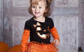 Picture joy, smile, child, baby, girl, Halloween, Halloween, beautiful, Pumpkin, little, beautiful, child, little girl