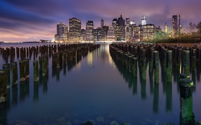 Picture New York, skyscrapers, New York, East River, East River, Lower Manhattan, Lower Manhattan, lights, the ...