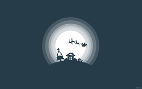 Picture Mood, Flight, The moon, House, Decoration, Plants, Santa, Silhouette, Sitting, Light, Night, Deer, Santa claus, ...