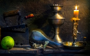 Picture old, lamp, Apple, candle, coins, wax, iron