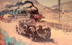 Picture Bentley, Figure, Train, Car, Painting, Terence Cuneo
