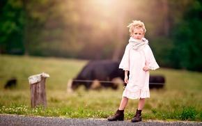 Wallpaper girl, farm, bokeh, Country Girl
