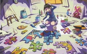 Picture paint, watch, books, skull, window, girl, bucket, puzzles, palette, schoolgirl, brush, artist, mess, in the …