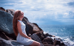 Picture girl, clouds, landscape, face, glare, stones, portrait, dress, light, brown hair, white, sitting, sky, sea, …