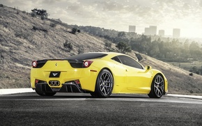 Picture Road, Ferrari, Italy, Ferrari, Car, Vorsteiner, Yellow, Supercar, 458 Italia, Side View, Yellow