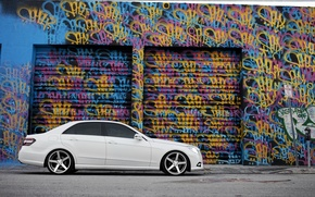 Picture white, graffiti, tuning, Mercedes, side, tinted, E Class