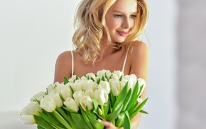 Wallpaper girl, flowers, smile, bouquet, makeup, hairstyle, blonde, tulips, beauty, white