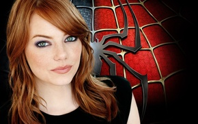 Picture girl, movies, spider, red hair, spider-man, Emma stone, black color., emma stone
