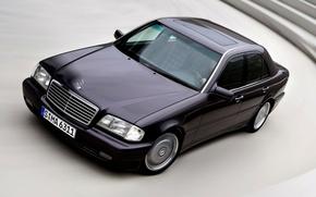 Picture road, machine, black, lights, people, Mercedes-Benz, speed, turn, wheel, driver, Mercedes, car, Mercedes, merselis