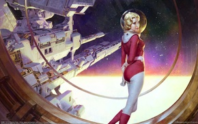 Wallpaper Zezhou Chen, space, space station, starship, girl