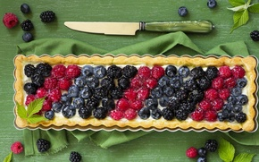 Picture berries, pie, knife, cream, BlackBerry, rectangle